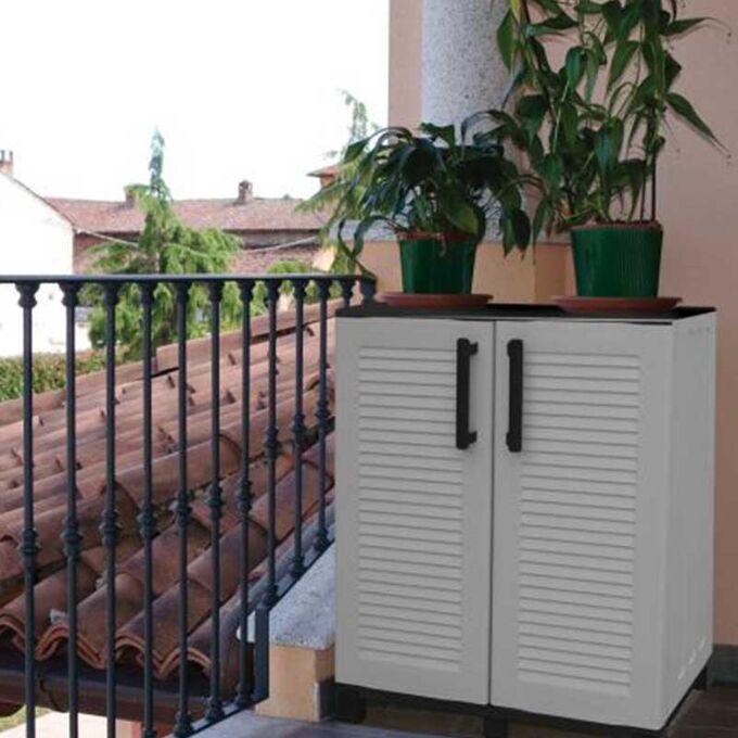 Πλαστική Ντουλάπα 68x37x90cm 9kg με Μεταλλικούς STRONG Μεντεσέδες 2 Αποθηκευτικοί και 6 Πόδια Γκρι ARTPLAST ITALY FAMILY