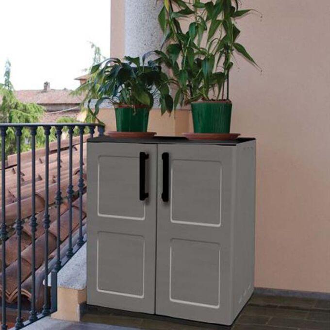 Πλαστική Ντουλάπα 68x37x84cm 9kg με Μεταλλικούς STRONG Μεντεσέδες 2 Αποθηκευτικοί Χώροι Γκρι Σκούρο ARTPLAST ITALY