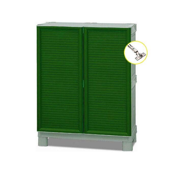 Πλαστική Ντουλάπα 70x39x92cm 11kg με Μεταλλικούς STRONG Μεντεσέδες MASSIF 2 Αποθηκευτικό Χώροι Πράσινο-Γκρι ARTPLAST CONCERT ITALY