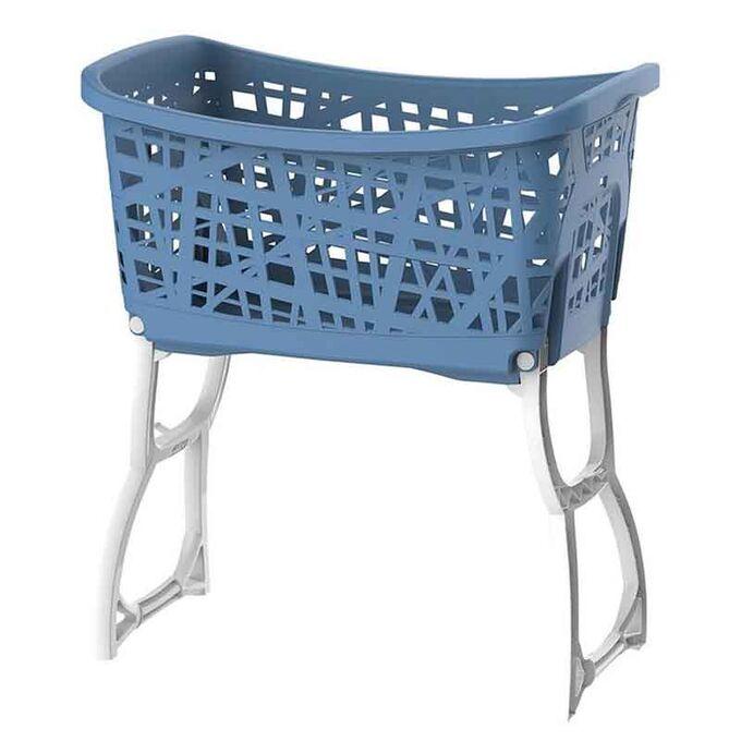 Καλάθι Ρούχων με Πόδια 44lt 60.5x39.5x68.5cm Μπλε-Λευκό BAMA Ιταλίας