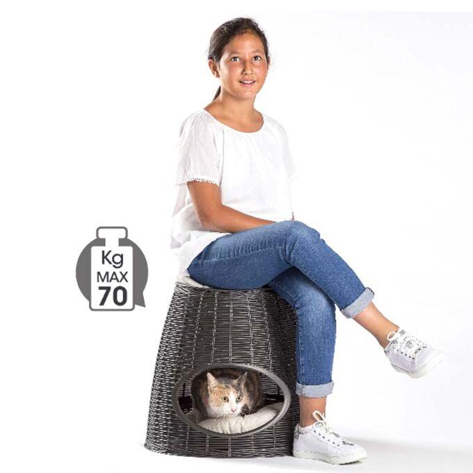 BAMA ITALY Διπλό Κρεβατάκι Κατοικιδίων-Σκαμπό 52x50x55cm RATTAN + 2 Μαξιλάρια PASHA Λευκό