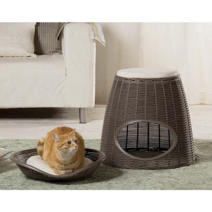 BAMA ITALY Διπλό Κρεβατάκι Γάτας-Σκαμπό 52x50x55cm RATTAN + 2 Μαξιλάρια PASHA Γκρί-Καφέ