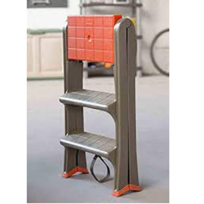 Σκαλοσκαμπό Πλαστικό 47x78x64cm 2+1 Σκαλιά Καφέ Taupe-Πορτοκαλί BAMA