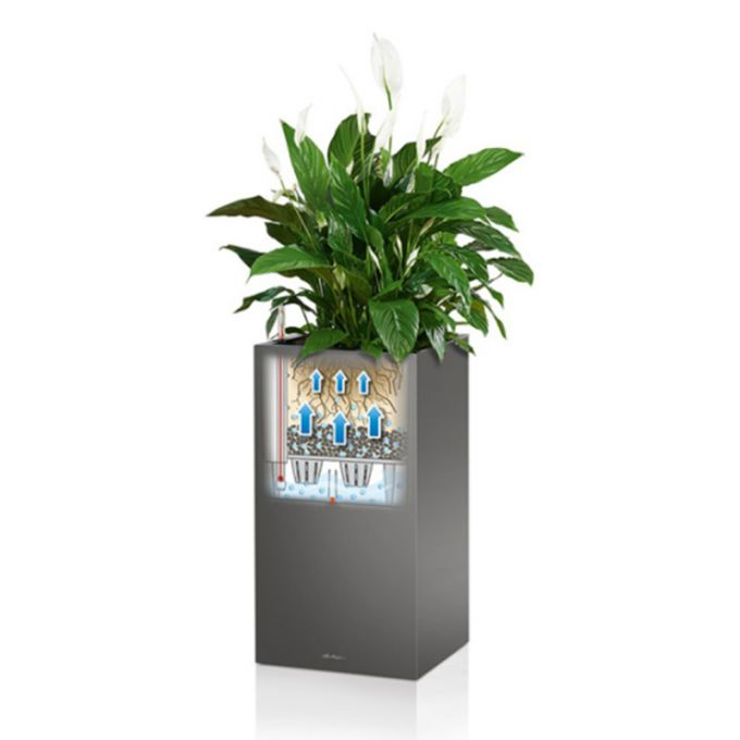 LECHUZA Canto 40 Premium Κύβος Επιδαπέδια Γλάστρα 40x40x40cm Αυτοποτιζόμενη με Δοχείο Φύτευσης Ανθρακί Γυαλιστερό Γερμανίας Reddot Award Winner 2017
