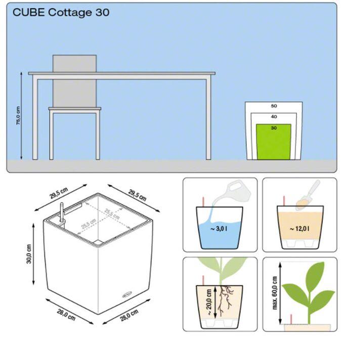 LECHUZA Cube Cottage 30 Επιδαπέδια Γλάστρα 29.5x29.5x30cm Αυτοποτιζόμενη με Δοχείο Φύτευσης Λευκή Γερμανίας