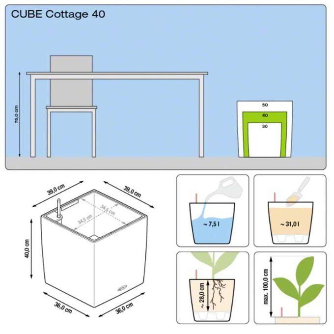 LECHUZA Cube Cottage 40 Επιδαπέδια Γλάστρα 39x39x40cm Αυτοποτιζόμενη με Δοχείο Φύτευσης Μόκα Γερμανίας