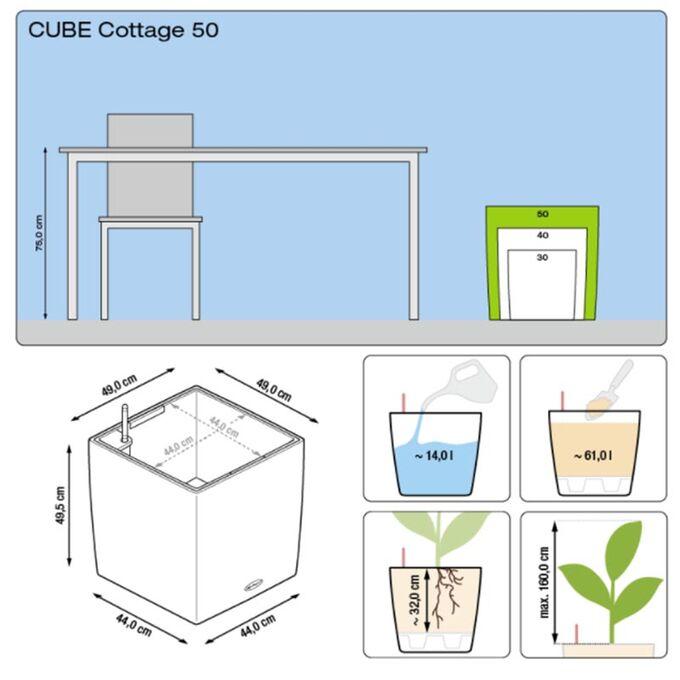 LECHUZA Cube Cottage 50 Επιδαπέδια Γλάστρα 49x49x49.5cm Αυτοποτιζόμενη με Δοχείο Φύτευσης Μόκα Γερμανίας
