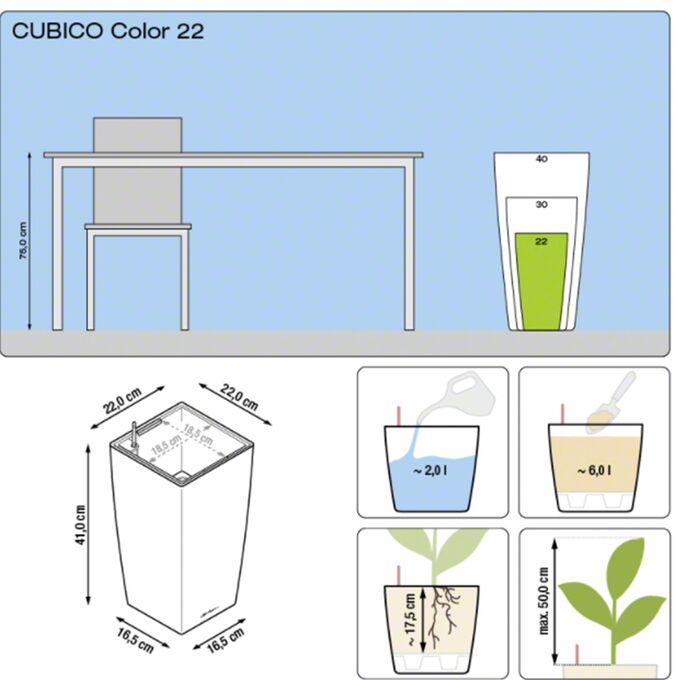 LECHUZA Cubico Color 22 Επιδαπέδια Γλάστρα 22x22x41cm Αυτοποτιζόμενη με Δοχείο Φύτευσης Ανθρακί Ματ Γερμανίας
