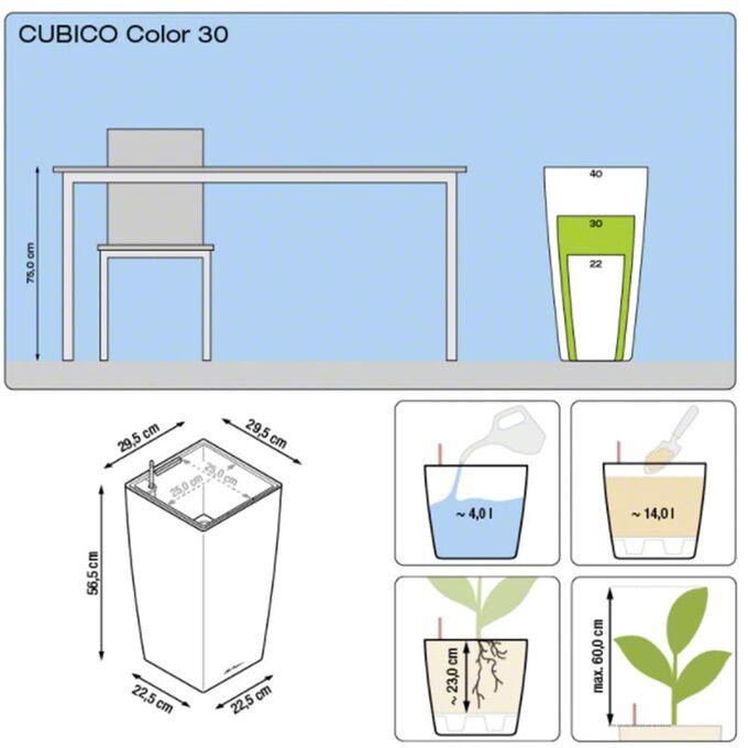 LECHUZA Cubico Color 30 Επιδαπέδια Γλάστρα 29.5x29.5x56.5cm Αυτοποτιζόμενη με Δοχείο Φύτευσης Ανθρακί Ματ Γερμανίας