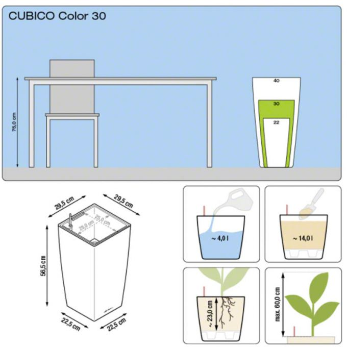LECHUZA Cubico Color 30 Επιδαπέδια Γλάστρα 29.5x29.5x56.5cm Αυτοποτιζόμενη με Δοχείο Φύτευσης Καρυδί Ματ Γερμανίας