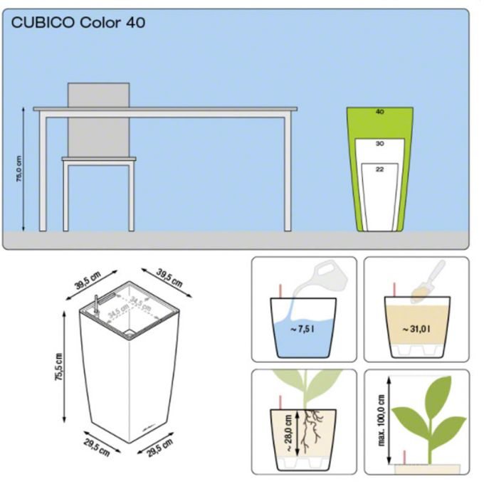 LECHUZA Cubico Color 40 Επιδαπέδια Γλάστρα 39.5x39.5x75.5cm Αυτοποτιζόμενη με Δοχείο Φύτευσης Ανθρακί Ματ Γερμανίας