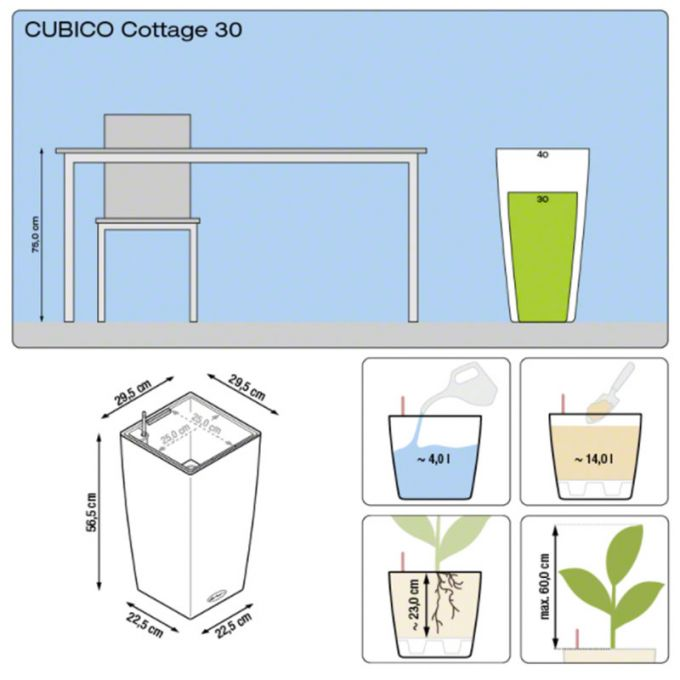 LECHUZA Cubico Cottage 30 Επιδαπέδια Γλάστρα 29.5x29.5x56.5cm Αυτοποτιζόμενη με Δοχείο Φύτευσης Ανθρακί Γερμανίας
