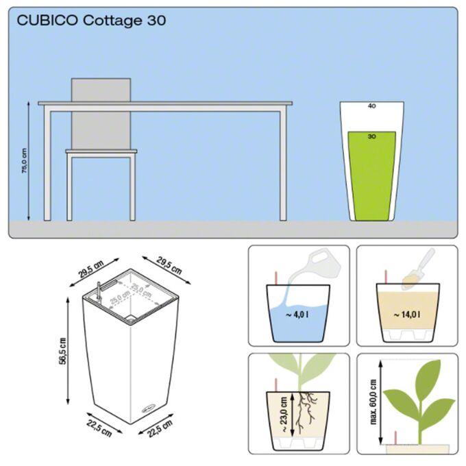 LECHUZA Cubico Cottage 40 Επιδαπέδια Γλάστρα 39.5x39.5x75.5cm Αυτοποτιζόμενη με Δοχείο Φύτευσης Ανθρακί Γερμανίας