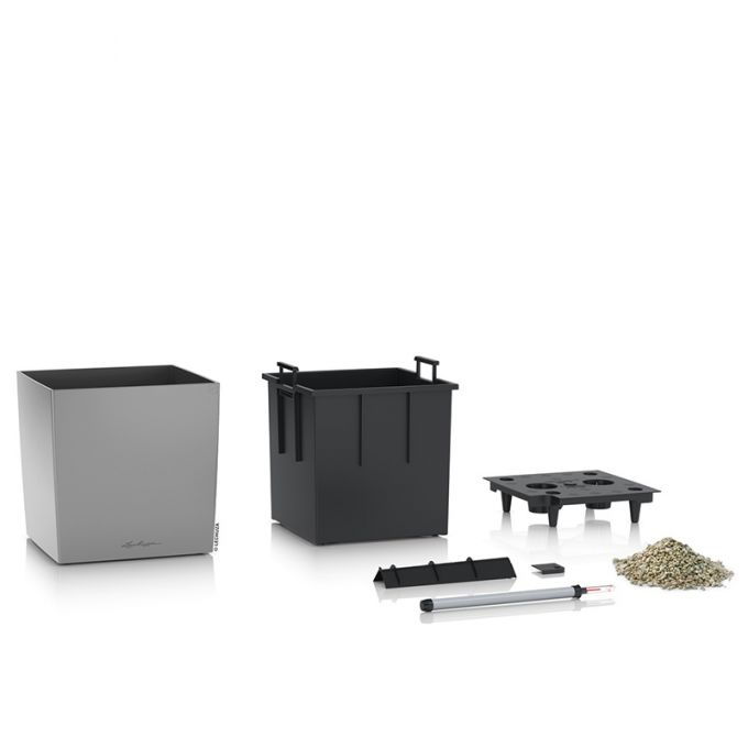 LECHUZA Cube Premium 40 Επιδαπέδια Γλάστρα 39x39x40cm Αυτοποτιζόμενη με Δοχείο Φύτευσης Ασημί Γυαλιστερή Γερμάνιας