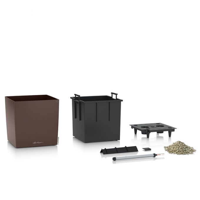 LECHUZA Cube Premium 40 Επιδαπέδια Γλάστρα 39x39x40cm Αυτοποτιζόμενη με Δοχείο Φύτευσης Καφέ Espresso Γυαλιστερή Γερμάνιας