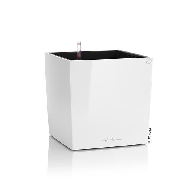 LECHUZA Cube Premium 30 Επιδαπέδια Γλάστρα 29.5x29.5x30cm Αυτοποτιζόμενη με Δοχείο Φύτευσης Λευκή Γυαλιστερή Γερμάνιας