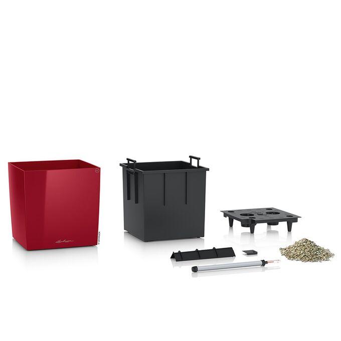 LECHUZA Cube Premium 40 Επιδαπέδια Γλάστρα 39x39x40cm Αυτοποτιζόμενη με Δοχείο Φύτευσης Μπορντό Γυαλιστερή Γερμάνιας