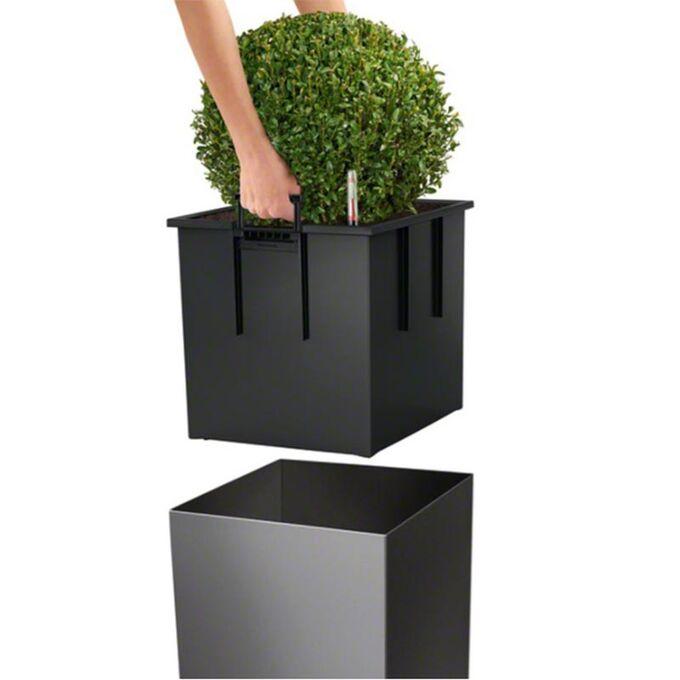 LECHUZA Cube Premium 40 Επιδαπέδια Γλάστρα 39x39x40cm Αυτοποτιζόμενη με Δοχείο Φύτευσης Ανθρακί Γυαλιστερή Γερμάνιας