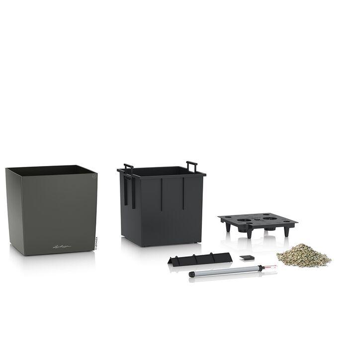 LECHUZA Cube Premium 30 Επιδαπέδια Γλάστρα 29.5x29.5x30cm Αυτοποτιζόμενη με Δοχείο Φύτευσης Ανθρακί Γυαλιστερή Γερμάνιας