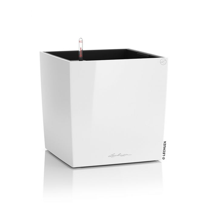 LECHUZA Cube Premium 40 Επιδαπέδια Γλάστρα 39x39x40cm Αυτοποτιζόμενη με Δοχείο Φύτευσης Λευκή Γυαλιστερή Γερμάνιας