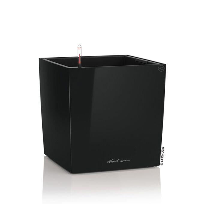 LECHUZA Cube Premium 40 Επιδαπέδια Γλάστρα 39x39x40cm Αυτοποτιζόμενη με Δοχείο Φύτευσης Μαύρη Γυαλιστερή Γερμάνιας