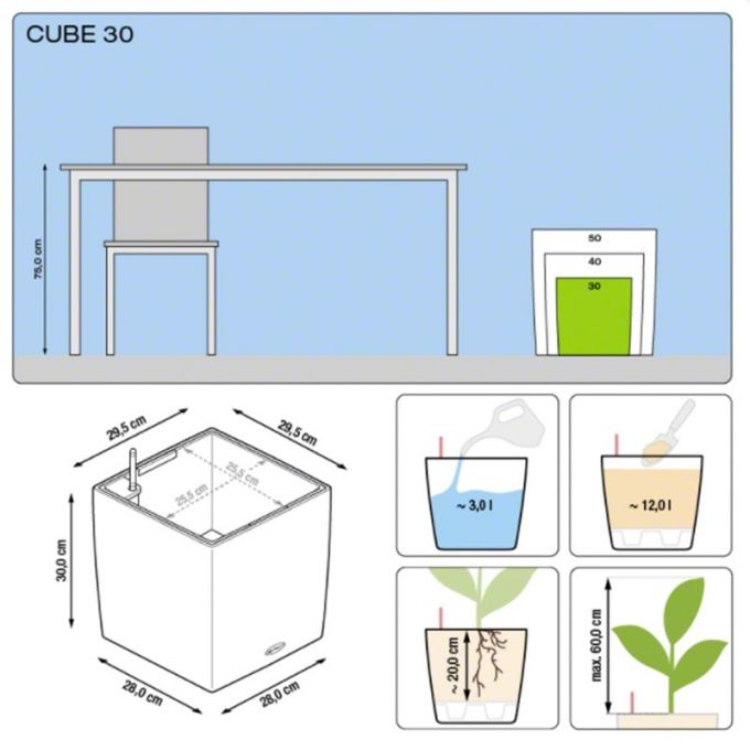 LECHUZA Cube Premium 30 Επιδαπέδια Γλάστρα 29.5x29.5x30cm Αυτοποτιζόμενη με Δοχείο Φύτευσης Μαύρη Γυαλιστερή Γερμάνιας