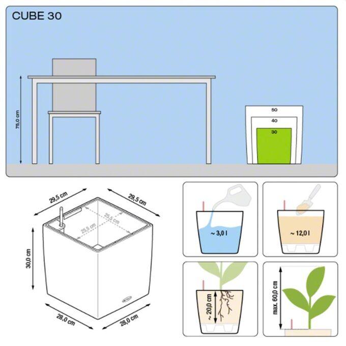 LECHUZA Cube Premium 30 Επιδαπέδια Γλάστρα 29.5x29.5x30cm Αυτοποτιζόμενη με Δοχείο Φύτευσης Μπορντό Γυαλιστερή Γερμάνιας