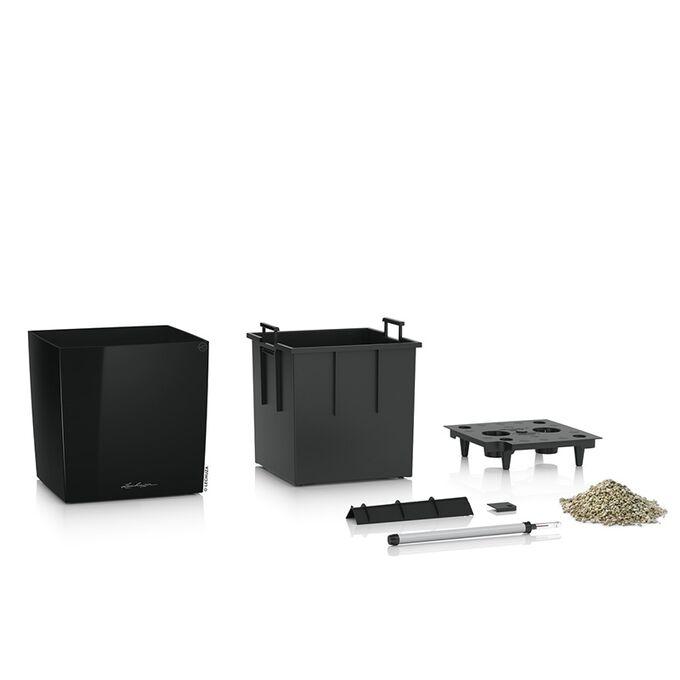 LECHUZA Cube Premium 50 Επιδαπέδια Γλάστρα 49x49x49.5cm Αυτοποτιζόμενη με Δοχείο Φύτευσης Μαύρη Γυαλιστερή Γερμάνιας