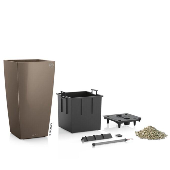LECHUZA CUBICO 30 Premium Επιδαπέδια Γλάστρα 29.5x29.x56.5cm Αυτοποτιζόμενη με Δοχείο Φύτευσης Γκρι-Καφέ Γυαλιστερή Γερμανίας