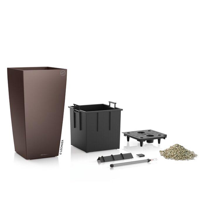LECHUZA CUBICO 30 Premium Επιδαπέδια Γλάστρα 29.5x29.5x56.5cm Αυτοποτιζόμενη με Δοχείο Φύτευσης Καφέ Espresso Γυαλιστερή Γερμανίας