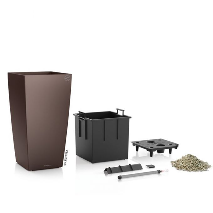 LECHUZA CUBICO 40 Premium Επιδαπέδια Γλάστρα 39.5x39.5x75.5cm Αυτοποτιζόμενη με Δοχείο Φύτευσης Καφέ Espresso Γυαλιστερή Γερμανίας