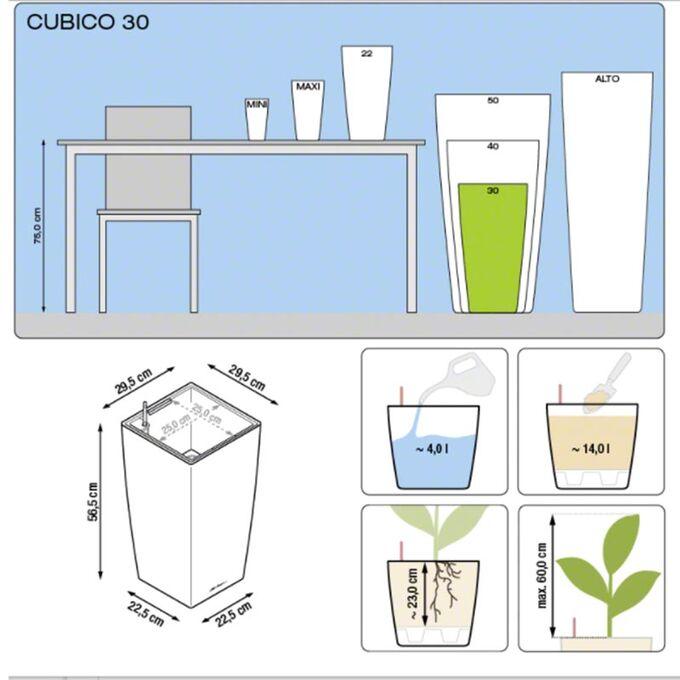 LECHUZA CUBICO 30 Premium Επιδαπέδια Γλάστρα 29.5x29.5x56.5cm Αυτοποτιζόμενη με Δοχείο Φύτευσης Ασημί Γυαλιστερή Γερμανίας