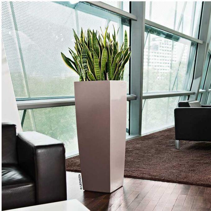 LECHUZA CUBICO ALTO 40 Premium Επιδαπέδια Γλάστρα 39.5x39.5x105cm Αυτοποτιζόμενη με Δοχείο Φύτευσης Γκρι-Καφέ Γυαλιστερή Γερμανίας