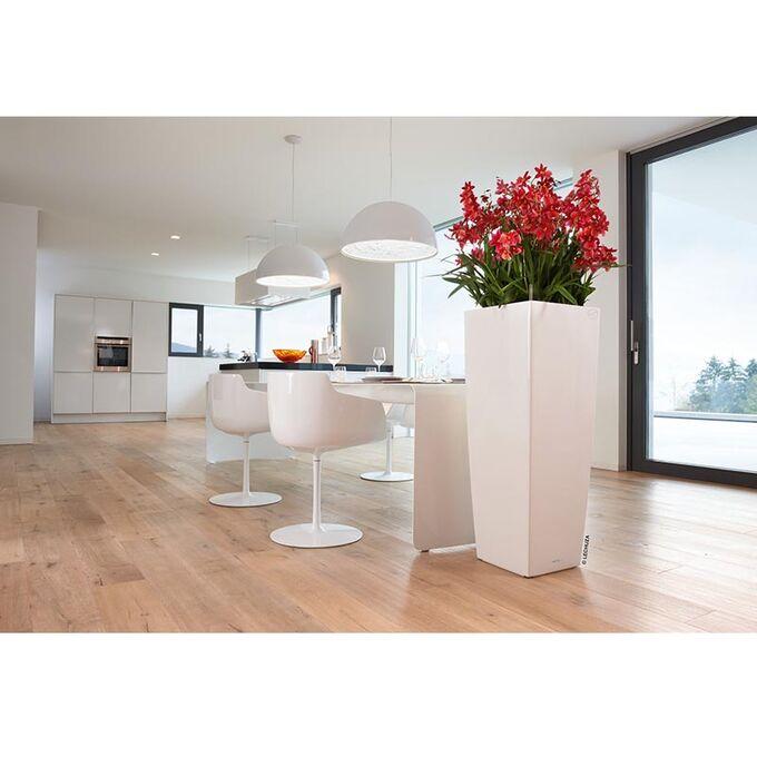 LECHUZA CUBICO ALTO 40 Premium Επιδαπέδια Γλάστρα 39.5x39.5x105cm Αυτοποτιζόμενη με Δοχείο Φύτευσης Λευκή Γυαλιστερή Γερμανίας