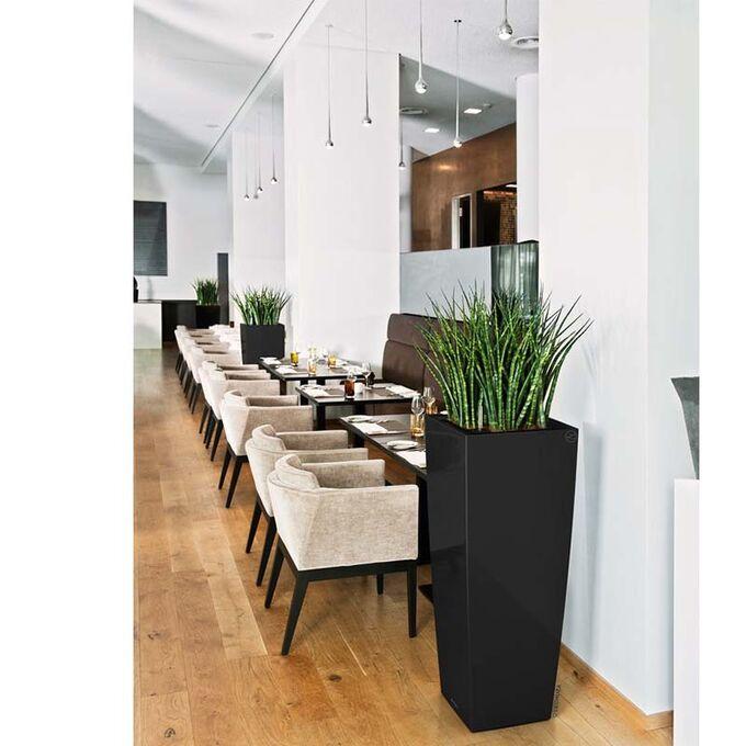 LECHUZA CUBICO ALTO 40 Premium Επιδαπέδια Γλάστρα 39.5x39.5x105cm Αυτοποτιζόμενη με Δοχείο Φύτευσης Μαύρη Γυαλιστερή Γερμανίας