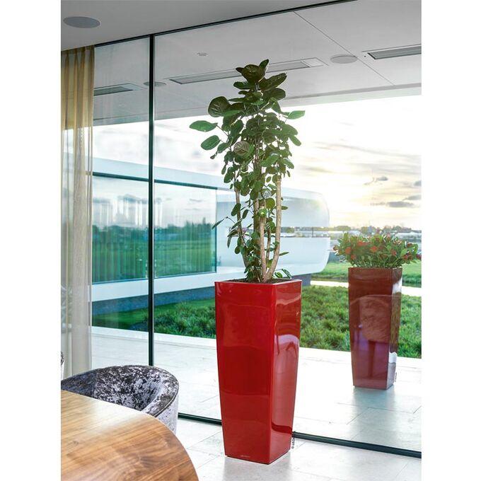 LECHUZA CUBICO ALTO 40 Premium Επιδαπέδια Γλάστρα 39.5x39.5x105cm Αυτοποτιζόμενη με Δοχείο Φύτευσης Κόκκινη Γυαλιστερή Γερμανίας
