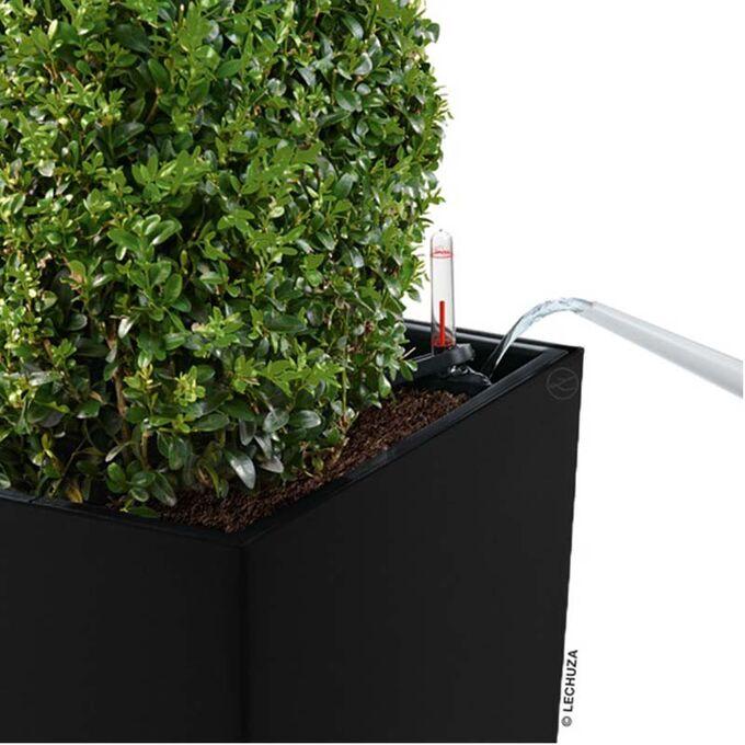 LECHUZA CUBICO 50 Premium Επιδαπέδια Γλάστρα 50x50x94cm Αυτοποτιζόμενη με Δοχείο Φύτευσης Μαύρη Γυαλιστερή Γερμανίας