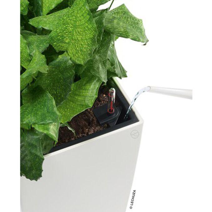 LECHUZA Cube Premium 30 Επιδαπέδια Γλάστρα 29.5x29.5x30cm Αυτοποτιζόμενη με Δοχείο Φύτευσης Γκρι-Καφέ Γυαλιστερή Γερμάνιας
