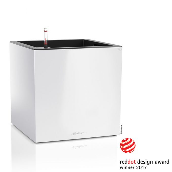 LECHUZA Canto 40 Premium Κύβος Επιδαπέδια Γλάστρα 40x40x40cm Αυτοποτιζόμενη με Δοχείο Φύτευσης Λευκή Γυαλιστερή Γερμανίας Reddot Award Winner 2017