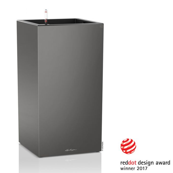 LECHUZA Canto 40 Premium Tower Επιδαπέδια Γλάστρα 40x40x76cm Αυτοποτιζόμενη με Δοχείο Φύτευσης Ανθρακί Γυαλιστερή Γερμανίας Reddot Award Winner 2017