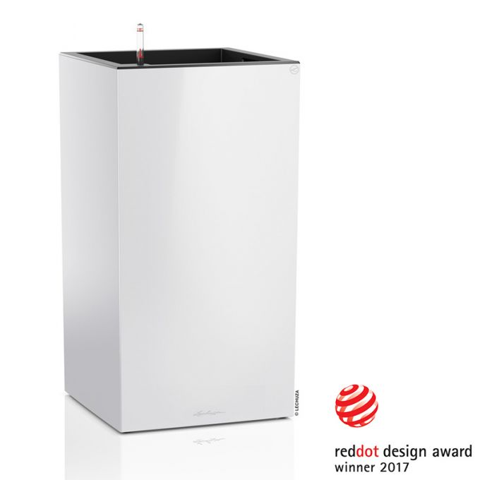 LECHUZA Canto 40 Tower Επιδαπέδια Γλάστρα 40x40x76cm Αυτοποτιζόμενη με Δοχείο Φύτευσης Λευκή Γυαλιστερή Γερμανίας Reddot Award Winner 2017