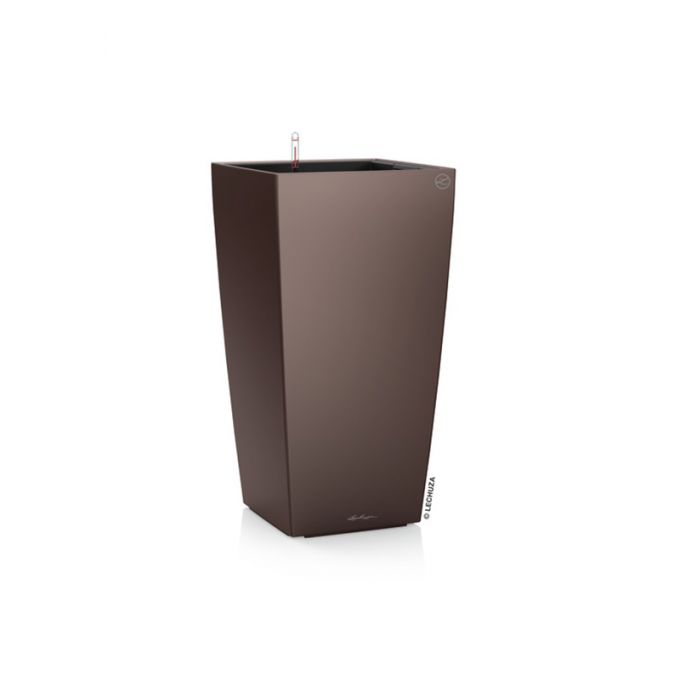 LECHUZA CUBICO 22 Premium Επιτραπέζια Γλάστρα 22x22x41cm Αυτοποτιζόμενη με Δοχείο Φύτευσης Καφέ Espresso Γυαλιστερή Γερμανίας