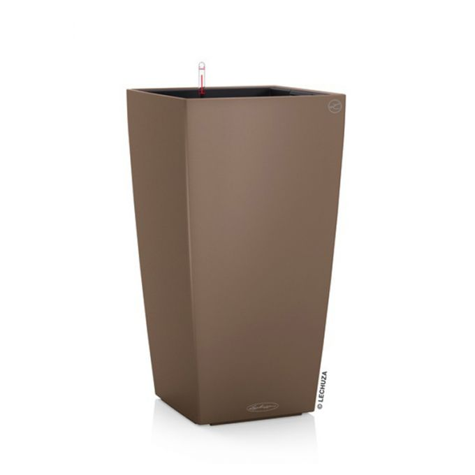 LECHUZA Cubico Color 40 Επιδαπέδια Γλάστρα 39.5x39.5x75.5cm Αυτοποτιζόμενη με Δοχείο Φύτευσης Καφέ Ματ Γερμανίας