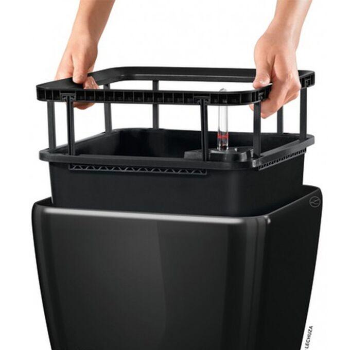LECHUZA QUADRO 35 LS Premium Επιτραπέζια Γλάστρα 35.5x35.5x32.5cm ΑΥΤΟΠΟΤΙΖΟΜΕΝΗ με Δοχείο Φύτευσης Μαύρη Γυαλιστερή Γερμανίας