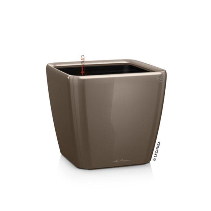 LECHUZA QUADRO 28 LS Premium Επιτραπέζια Γλάστρα 28x28x26cm ΑΥΤΟΠΟΤΙΖΟΜΕΝΗ με Δοχείο Φύτευσης Γκρι-καφέ Γυαλιστερή Γερμανίας
