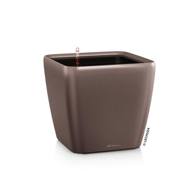LECHUZA QUADRO 28 LS Premium Επιτραπέζια Γλάστρα 28x28x26cm ΑΥΤΟΠΟΤΙΖΟΜΕΝΗ με Δοχείο Φύτευσης Καφέ Espresso Γυαλιστερή Γερμανίας