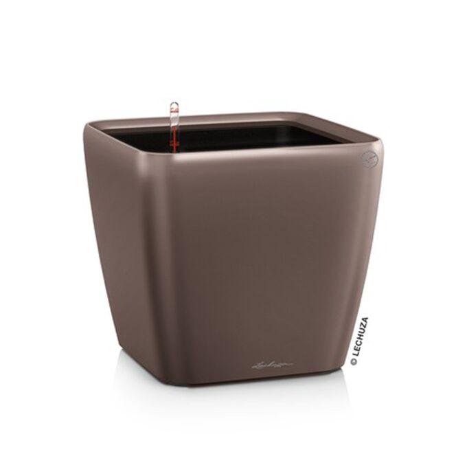 LECHUZA QUADRO 35 LS Premium Επιδαπέδια Γλάστρα 35.5x35.5x32.5cm ΑΥΤΟΠΟΤΙΖΟΜΕΝΗ με Δοχείο Φύτευσης Καφέ Espresso Γυαλιστερή Γερμανίας