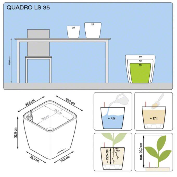LECHUZA QUADRO 35 LS Premium Επιδαπέδια Γλάστρα 35.5x35.5x32.5cm ΑΥΤΟΠΟΤΙΖΟΜΕΝΗ με Δοχείο Φύτευσης Γκρι-Καφέ Γυαλιστερή Γερμανίας