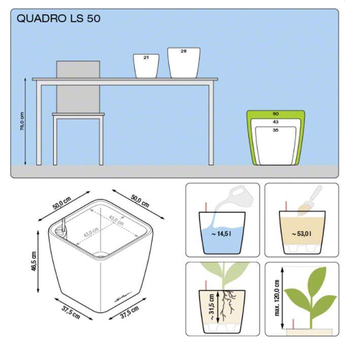 LECHUZA QUADRO 50 LS Premium Επιδαπέδια Γλάστρα 50x50x46.5cm ΑΥΤΟΠΟΤΙΖΟΜΕΝΗ με Δοχείο Φύτευσης Καφέ Espresso Γυαλιστερή Γερμανίας