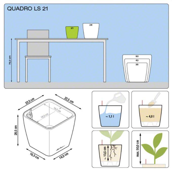 LECHUZA QUADRO 21 LS Premium Επιτραπέζια Γλάστρα 22.5x22.5x20.5cm ΑΥΤΟΠΟΤΙΖΟΜΕΝΗ με Δοχείο Φύτευσης Γκρι-καφέ Γυαλιστερή Γερμανίας